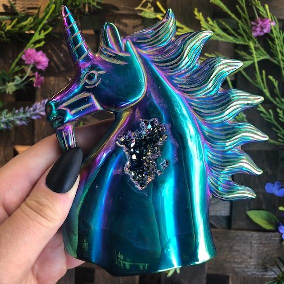Titanium Aura Unicorn Statue
