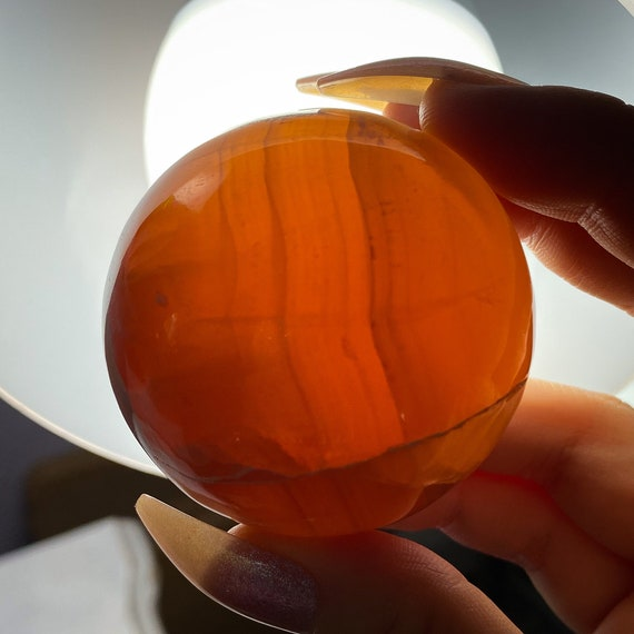 Honey Calcite Sphere with Stand