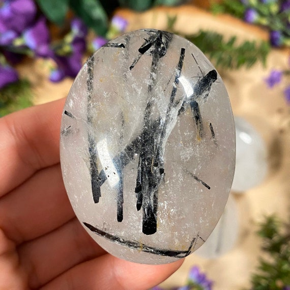 Tourmaline Quartz Palm Stones