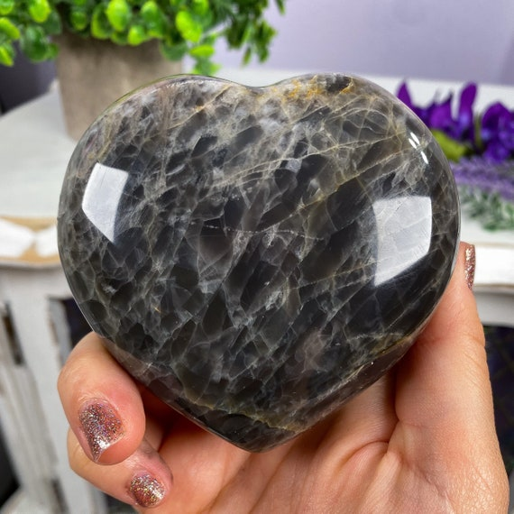 Black Moonstone Heart