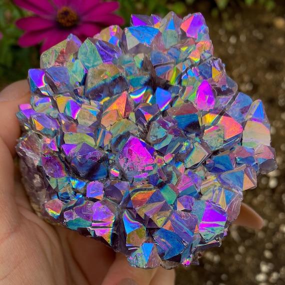 Rainbow Aura Amethyst Cluster