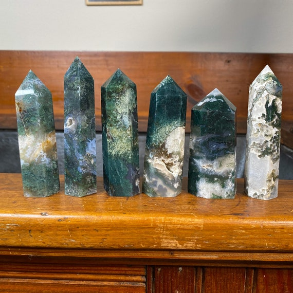 You Choose Beautiful Moss Agate Towers