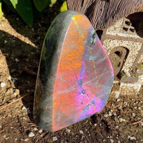 Vivid Pink Orange Blue Labradorite Freeform