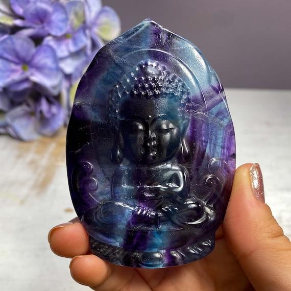 Beautiful Rainbow Fluorite Baby Buddha Carving