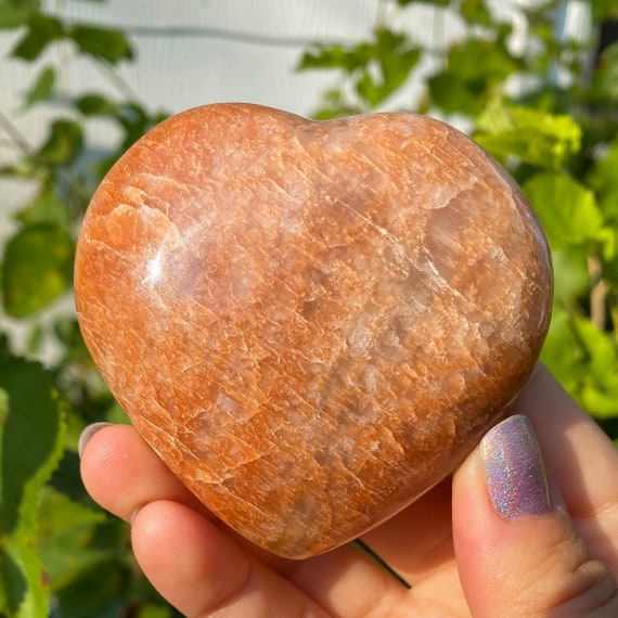 Peach Moonstone Heart, Gifts for Her