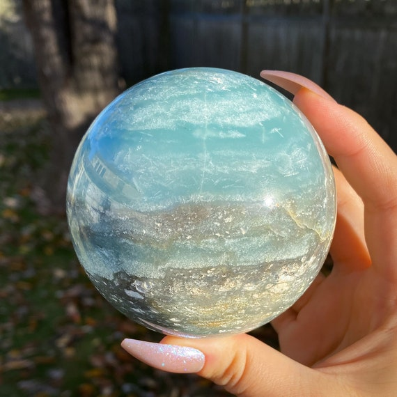 Teal Quartz Sphere with Stand