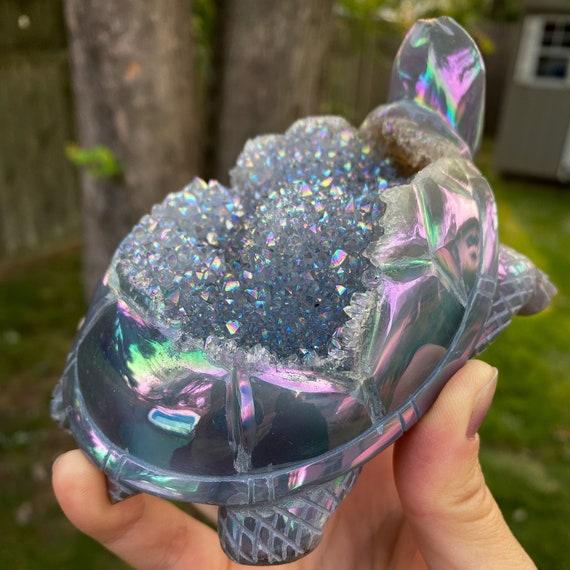 Large Aura Agate Geode Crystal Turtle
