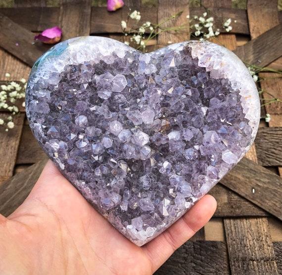 Large Druzy Amethyst Heart