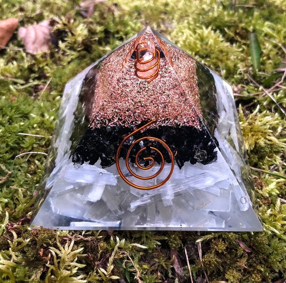 Selenite & Black Tourmaline Orgone Pyramid