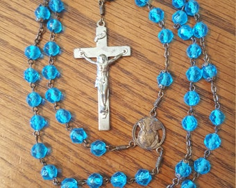 "Vintage Blue Beaded Rosary, 19"" Long"