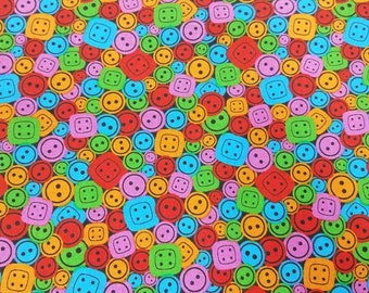 Sew Happy Buttons by Blank Quilting  Cotton- by the  YARD