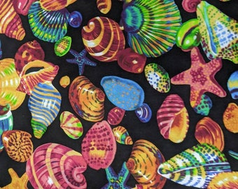Colorful Rainbow Shells Ocean Sea - High Quality Quilt Cotton from the bolt