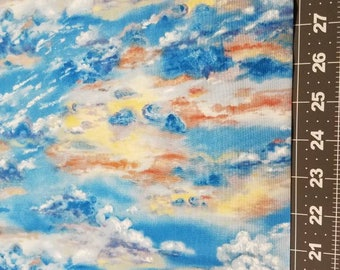 Sunset Clouds Sky- by the yard- High Quality Quilt Cotton