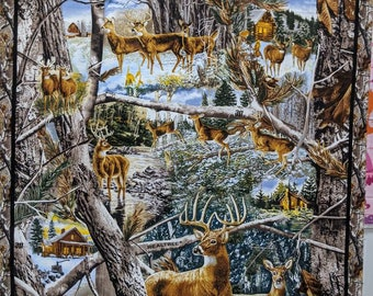 Real Tree Deer Buck Camo Panel - 24in x 42in - High Quality Quilt Cotton Beautiful