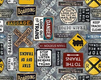 Express Tracks - Train Signs - Beautiful Quilt Cotton from the bolt
