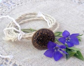 Wrap Bracelet Vintage Gold Coat Of Arms Button, Hand Twisted Vintage Linen Cord