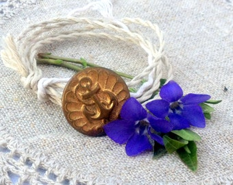 Wrap Bracelet Vintage Gold Seaman Button, Hand Twisted Vintage Linen Cord