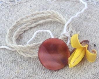 Wrap Bracelet Vintage Dark Peach, Hand Twisted Vintage Linen Cord