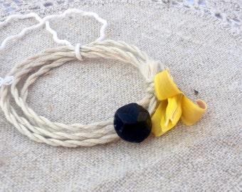 Wrap Bracelet Vintage Black Button, Hand Twisted Vintage Linen Cord