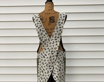 Cross Back apron, linen/cotton, butterflies,  Fully lined L/XL