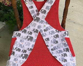 Child's Cross back apron/pinafore, elephants, polka dots, art apron,  fully lined L(10)