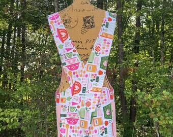 Cross Back apron, kitchen print, baking print, Fully lined, S/M