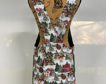 Cross Back apron, extra small, petite, snow, Christmas, winter
