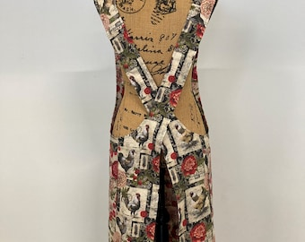 Cross back apron, vintage print, chickens, roses, Fully lined L/XL