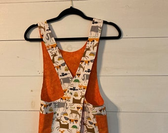 Child's Cross back apron/pinafore, woodland animals, art apron,  fully lined L(10)