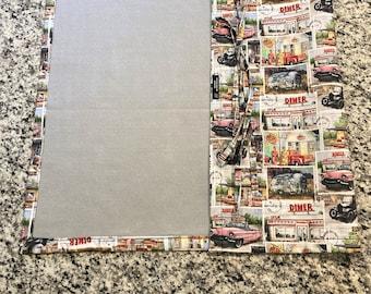 Jigsaw Puzzle Mat, classic cars, retro print, felt, handmade