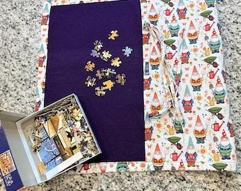 Jigsaw Puzzle Mat, gnomes, gardening, felt, handmade