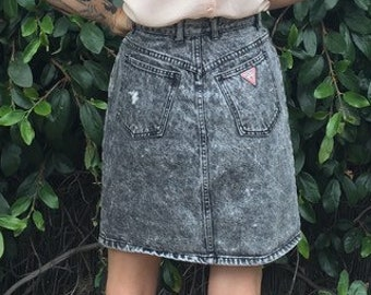 30a6236bf8d524 Authentic 80s vintage Guess black stonewash classic denim Jean skirt high  rise waist straight pencil mini above knee jeans new wave punk 30