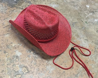 e151828d2429 Red paper straw cowboy hat with drawstring perfect for summer shade hat  cowboy cowgirl Glam western wear one size Mexico sombrero sun hat