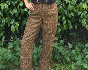 b4b5f2eb66a532 Wide leg art nouveau brocade high rise trousers ultra soft high waisted  pants earth tones groovy pattern 70s vintage 29x29 vtg 1970s lined