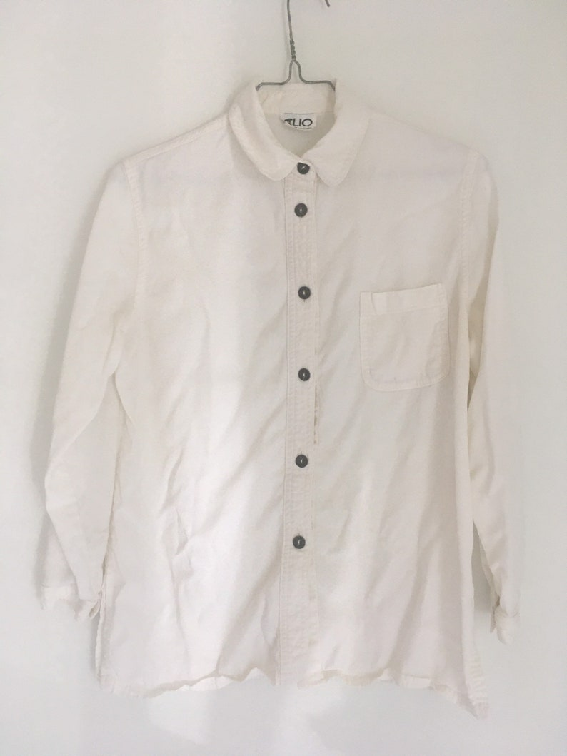 Vintage 1990s solid bone white button front ladies blouse Clio 1980s rayon Tencel long sleeve small made in USA classic basic shirt medium S