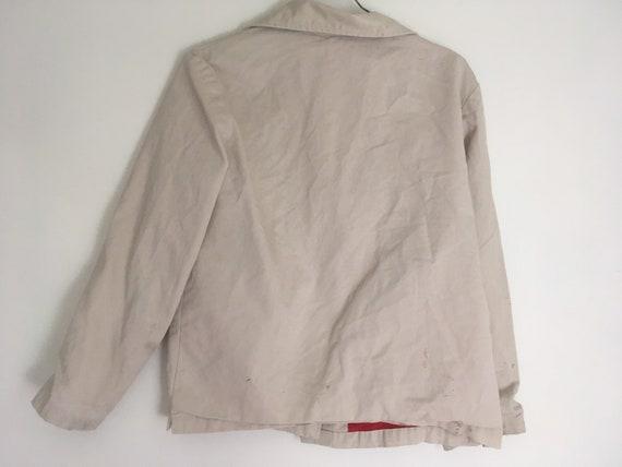 Vintage taupe workwear jacket distressed fully li… - image 3