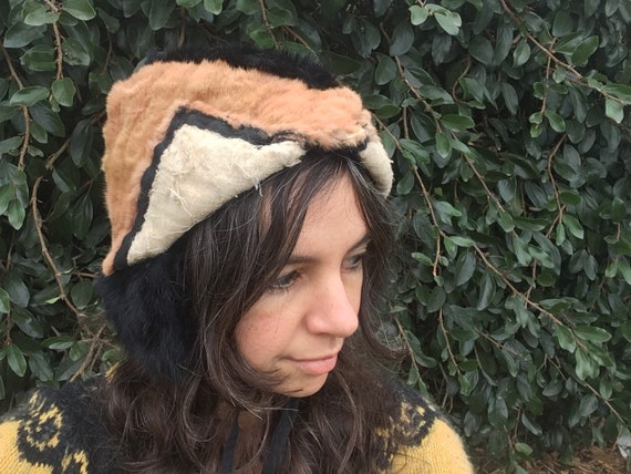 Hand made recycled fur hat blush pink dusty rose … - image 6