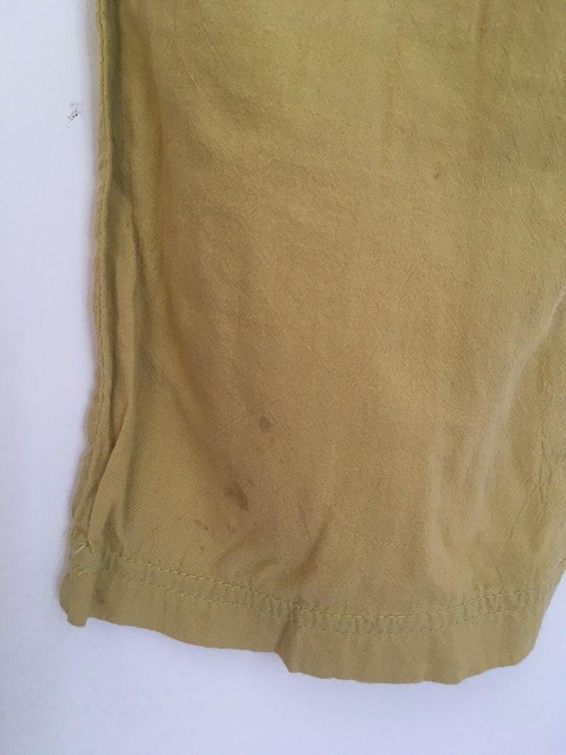 Vintage cotton loose lightweight muted mustard yellow high rise pants lightweight lounge wear summer elastic waist front pockets 27 28 29 30