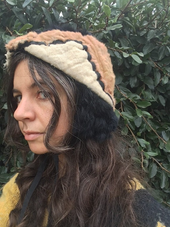 Hand made recycled fur hat blush pink dusty rose … - image 5