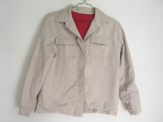 Vintage taupe workwear jacket distressed fully li… - image 1