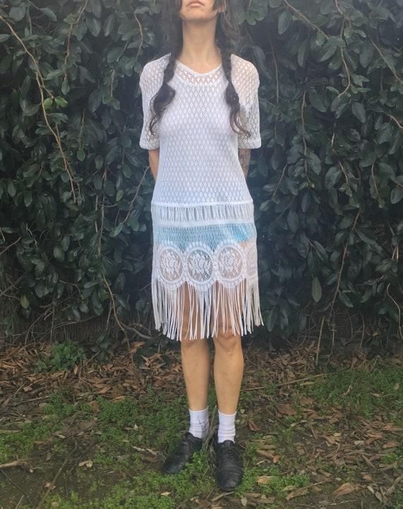 Vintage White lace Sharon Anthony dress long fringe flapper folk Edwardian 90s does 20s vintage tatted see through short sleeve medium large