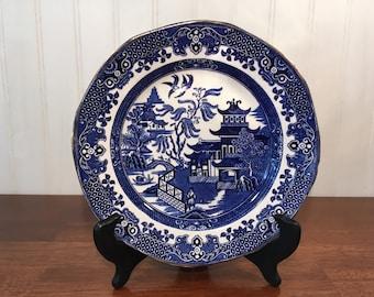 E3453 Vintage Set of Seven Small Blue Lustre Plates