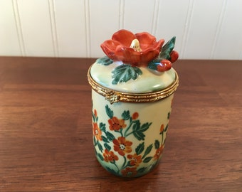 Vintage BOMBAY COMPANY Yellow Trinket Box Orange Flower Porcelain Lidded Candle Holder Gold Metal Trim Clasp Hinged Top Excellent Condition!