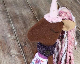 Plumeria – Unicorn doll – rag doll – handmade cloth doll – heirloom doll – linen doll – unique girl gifts– big sister doll