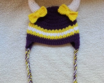 Crochet MN Vikings Earflap Hat