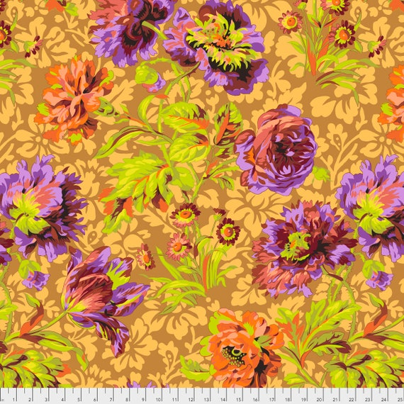 BAROQUE FLORAL Brown Philip Jacobs PWPJ090.BROWN Kaffe Fassett Collective Sold in 1/2 yd increments Item
