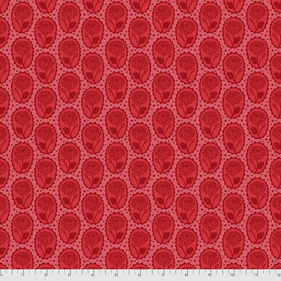 LOCKET CORAL Red PWAH018.Coral Love Always by Anna Maria Horner -  Sold in 1/2 yard increments -Multiples cut in one length