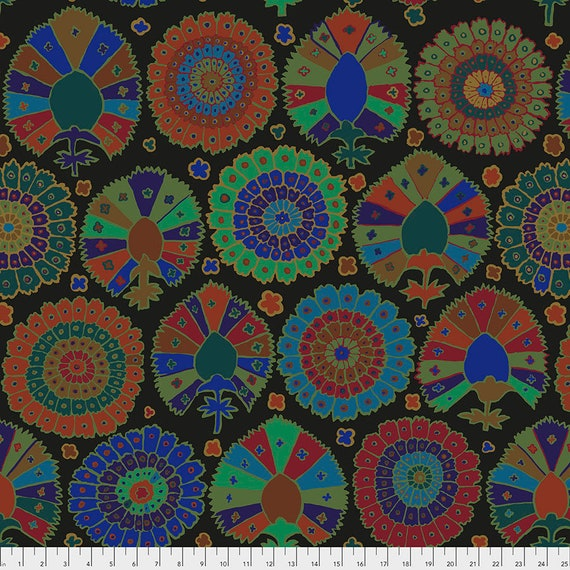 Pre-Order - TURKISH DELIGHT BLACK Kaffe Fassett  - Sold in 1/2 yd increments - Multiples cut in one length