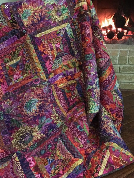 In stock 2/20/19 MOODY SIZZLING SUMMER Quilt Kit in Autumn colors Kaffe Fassett Collective fabrics - Free Shipping