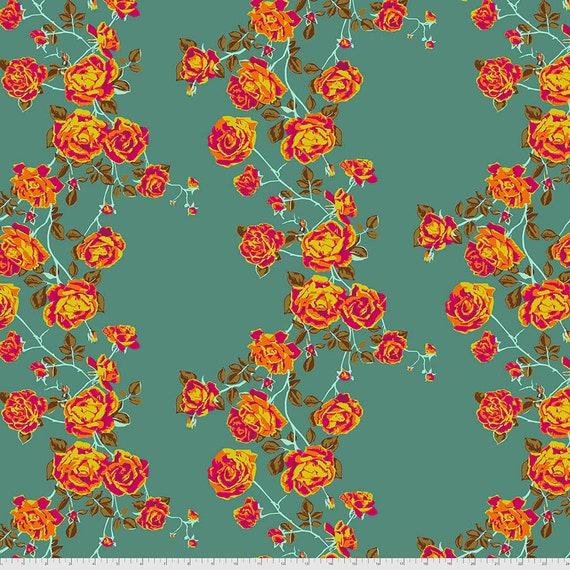 1/2 yd SOCIAL CLIMBER TEAL PWAH117.Teal Love Always by Anna Maria Horner - Sold in 1/2 yard  Multiples cut in one length